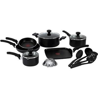 T-fal, Soft Handles Nonstick, C523SE, Dishwasher Safe Cookware, 14 Pc. Set, Black