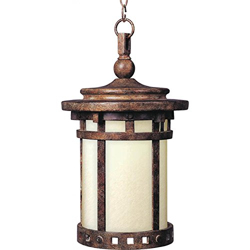 Maxim 85038MOSE Santa Barbara EE 1-Light Outdoor Hanging Lantern, Sienna Finish, Mocha Glass, GU24 Fluorescent Fluorescent Bulb , 60W Max., Damp Safety Rating, Standard Dimmable, Glass Shade Material, 1344 Rated -