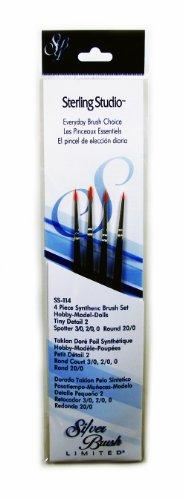 (Silver Brush SS-114 Sterling Studio Golden Taklon Short Handle Spotter Per Round Brush Set, 4 Per)