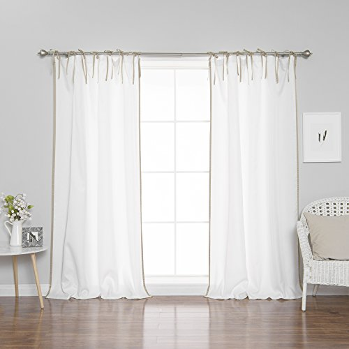 Panels Hanging Curtain (Best Home Fashion Oxford Border Tie Top Curtains - Tie Top Hanging Style - White & Wheat - 52