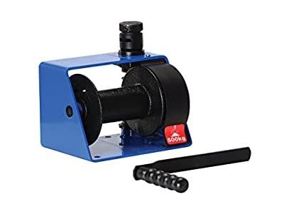 """Vestil HWV-1000 Hand Winch with Vertical Handle Worm Gear, 1000 lbs Capacity, 1/4"""" Wire Rope, 7"""" Length x 10-1/4"""" Width x 7"""" Height"""