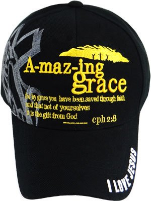 Christian Baseball Cap, Amazing Grace Hat, Cool, Prayer Praying Hands Shadowing Adjustable to Fit Most Men, Some Women and Older Teen Boys, Religious and Spiritual Clothing Accessory