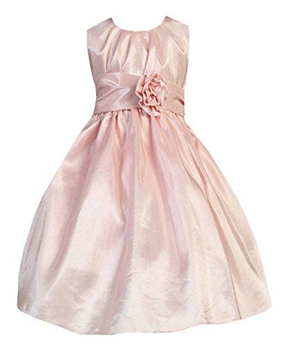 Sweet Kids Big Girls' Pleated Taffeta Flower Girl Dres 7 Pink SK 355 ()
