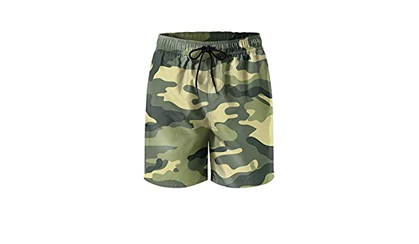 LHSKH Camouflage-5 Mens Swim Trunks Elastic Waist Boardshorts for Men Vintage Mens Swim Shorts