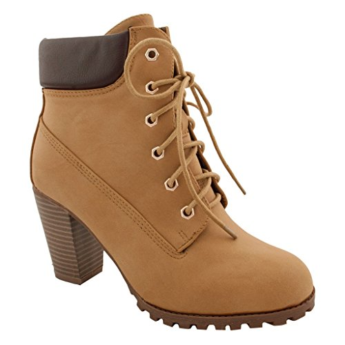 Collar Bootie Ankle Shoes Camel Heel Fashion Women's 10 Chunky Lace Up qWptnwHS