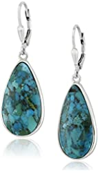 Sterling Silver Synthetic Compressed Turquoise Teardrop Earrings
