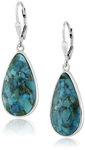 Sterling Silver Synthetic Compressed Turquoise Teardrop Earrings - Turquoise Dangle Earrings Set