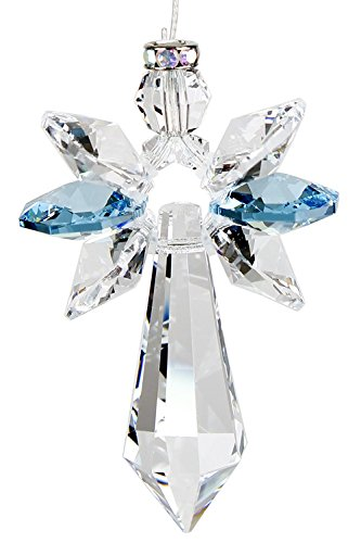 Woodstock Chimes Aquamarine Crystal Guardian Angel Large