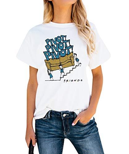 AEURPLT Women Teen Girls Pivot Friends T Shirt Friends TV Show Merchandise Summer Funny Graphic Shirts Tops Tees White