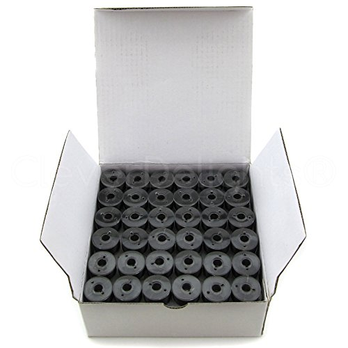 144 Pack - CleverDelights Size A Black Prewound Bobbins - 60wt Polyester - Size A (Class 15) Bobbins