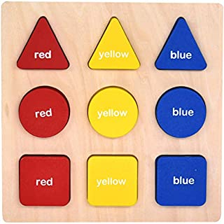 GYBBER&MUMU Wooden Preschool Colorful Shape Puzzle Toddler Educational Learning Toys for 12 Months +