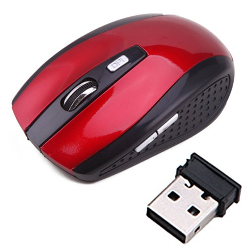 HDE Wireless Optical Computer Mouse 2.4 GHz Cordless USB Receiver Adjustable DPI (Red)