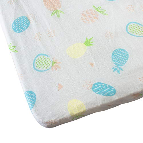 Baby Fitted Crib Sheets Set Muslin Cotton, Mini Portable Crib Sheet for Standard Crib and Toddler Mattresses by Vlokup, Pineapple