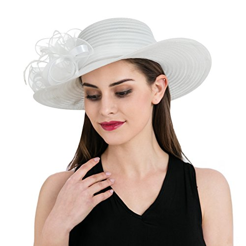 13be834e Dantiya Women's Organza Wide Brim Floral Ribbon Kentucky Derby Church Dress  Sun Hat