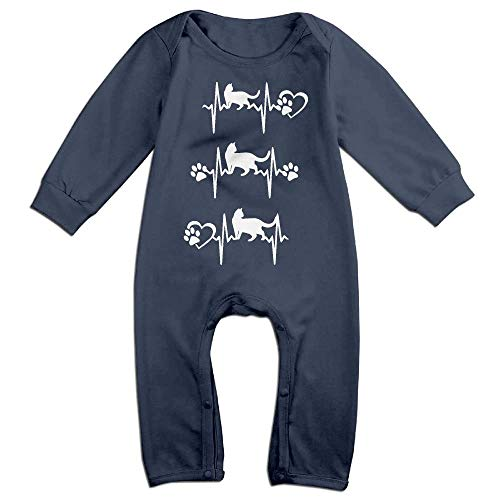 Toddler Baby Boy Girl Long Sleeve Jumpsuit Cats Heartbeat Pattern Baby Clothes Navy]()