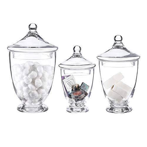 - Whole Housewares Clear Glass Apothecary Jars-Cotton Jar-Bathroom Storage Organizer Canisters Set of 3