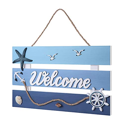(Homemaxs Beach Decor, Premium Solid Wooden Welcome Wall Decor Hanging Sign with 3D Beach Style for Home, Bedroom (16.5X14 inch))