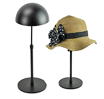 Black Metal Adjustable Hat Cap Display Stand Rack