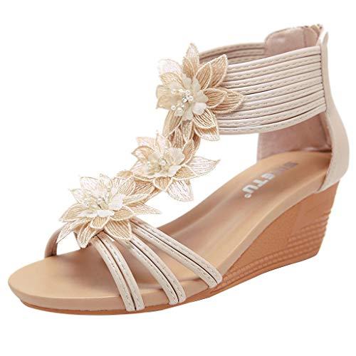 Tsmile New Summer Women Sandals Sloping Heels Of Roman Style Flowers Slippers Peep Toe Wedage Beach Shoes