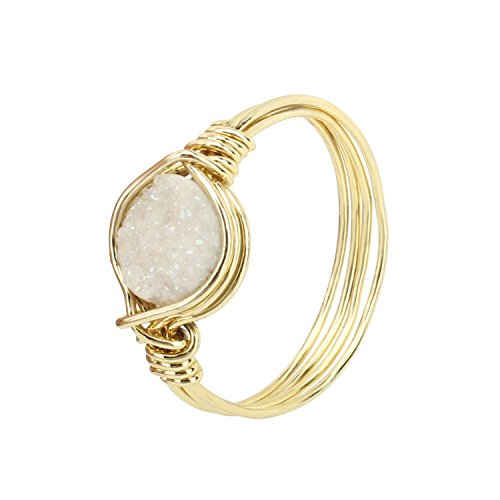 - KISSPAT Natural Druzy Stone Ring Handmade Comfortable Wire Wrap Rings 14K Gold Tone Size 9