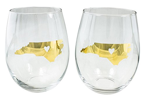 About Face Designs 186731 State of North Carolina (Set of 2) Stemless Wine Glass, 16 oz, Clear - North Carolina Wine