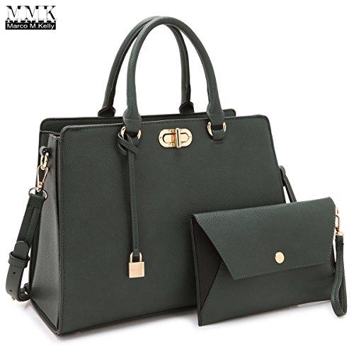 - MMK collection Fashion Handbag with coin purse(XL-11) Classic Women Purse Handbag for Women` Signature fashion Designer Purse ~ Perfect Women Satchel Purse (XL-23-7581-GN (Army Green)
