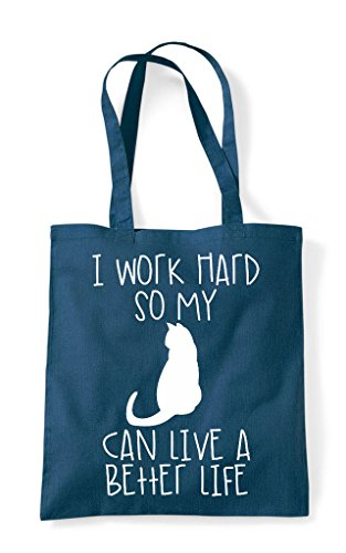 Themed Better Bag So Petrol Tote Can Shopper Cute Have My Hard Work Life Cat Animal I Funny A f8qOCxHCw