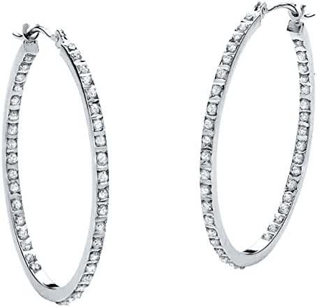 White Diamond Accent Platinum over .925 Sterling Silver Inside-Out Hoop Earrings 1.25