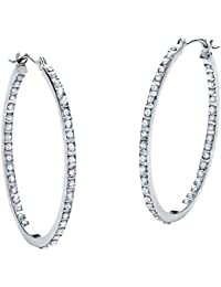 White Diamond Accent Platinum over .925 Sterling Silver Inside-Out Hoop Earrings 1.25""