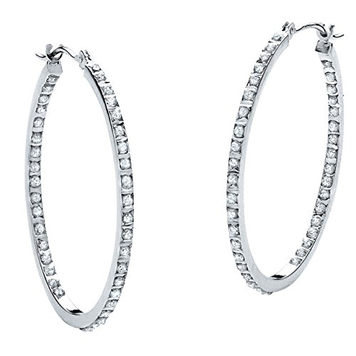 White Diamond Accent Platinum over .925 Sterling Silver Inside-Out Hoop Earrings (Diamond Hoop Earings)