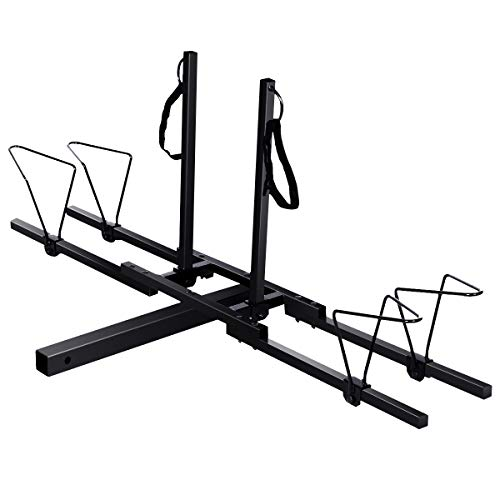 Goplus 2 Mountain Bike Rack Hitch Carrier, Upright Hitch Mounted Bike Rack Platform Hitch Rack 2