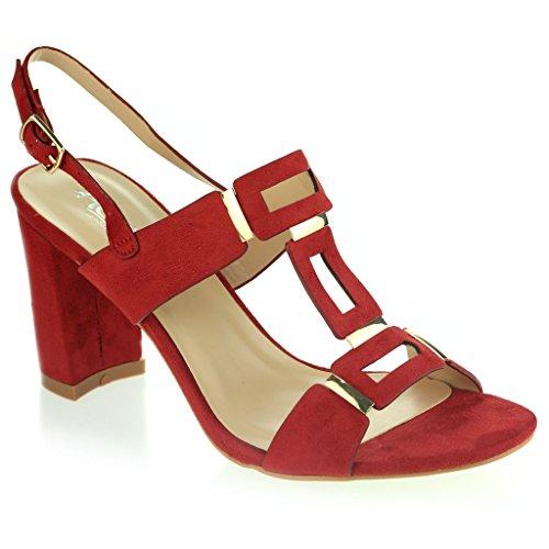 Mujer Señoras Punta Abierta Slingback Correa de Hebilla Noche Casual Fiesta Tacón de Bloque Sandalias Zapatos Talla Rojo