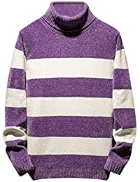 Turtleneck Stripes Knitted Long Sleeves Sweaters Pullover
