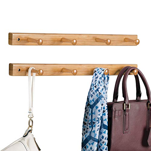mDesign Decorative Bamboo Wall Mount 4 Hook Storage Organizer Rack for Coats, Hoodies, Hats, Scarves, Purses, Leashes, Bath Towels & Robes - 2 Pack - Natural Wood Finish