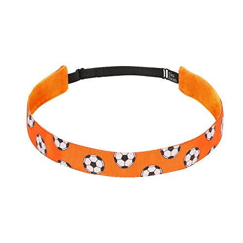 Non Slip Headbands for Girls | BaniBands Soccer Headband for Women | Fun Colors and Patterns, Unique No Slip Headband Design | Sports Themes for Soccer | Soccer-Orange
