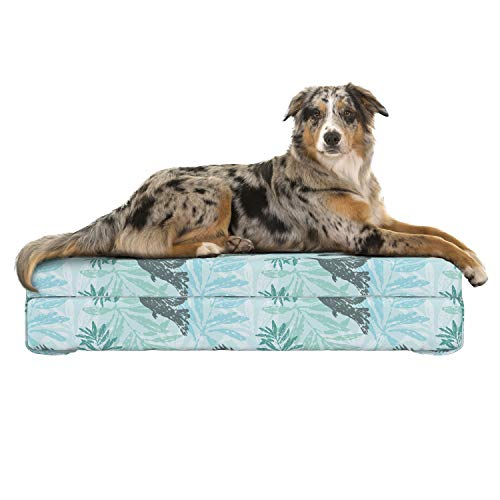 Lunarable Birds Dog Bed, Repetitive Pattern Peace Symbol Dove Olive Branch Illustraiton, Dog Pillow with High Resilience Visco Foam for Pets, 32