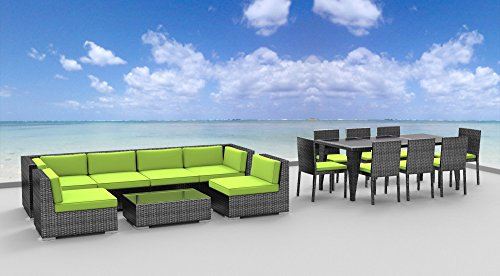 Urban Furnishing.net - 16 Piece Outdoor Dining and Sofa Sectional Patio Furniture Set (Sofa Designer Furniture)