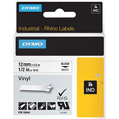 Dymo 18444 RhinoPRO Coloured Vinyl - Permanent adhesive vinyl tape - white - Roll (0.5 in x 18 ft) 1 roll(s) - for Rhino 4200, 6000, 6000 Hard Case Kit; RhinoPRO 5000, 5000 Hard Case Kit