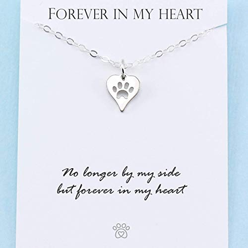 (Pet Memorial Necklace • Sterling Silver • Heart Paw Print Charm • Dog Cat Loss • Personalized Sympathy Gift)