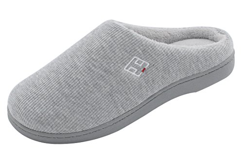 HomeIdeas Women's Classic Memory Foam Plush House Slippers, Lightweight and Anti-Slip (Small/5-6 B(M) US, Gray)