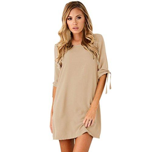 Teresamoon Women Bowknot Cocktail Mini Dress (S, Khaki)