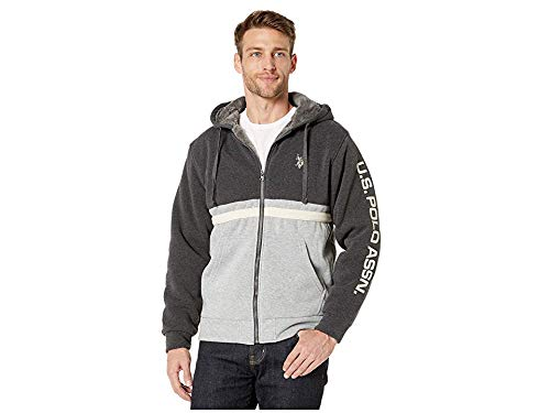 U.S. POLO ASSN. Men's Classic Sport Sherpa Hoodie, Heather Dark Gray, M
