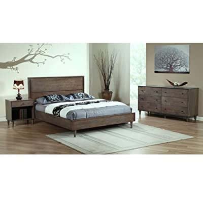 This Light Wood Queen Size Charcoal Bed From Vilas Will Add a Stylish Look to Your Bedroom with a Distressed Rustic Touch . This Bedroom Furniture Is a Durable, Wooden Construction That Will Complete Your Room with a Contemporary Edge. - Set includes: Vilas light charcoal queen bed Materials: Wood Finish: Light grey - bedroom-furniture, bed-frames, bedroom - 416QG7oE3sL. SS400  -