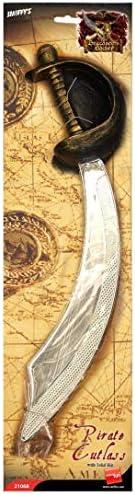 Augenklappe und Piratenschwert Silber Entermesser 46cm, One Size