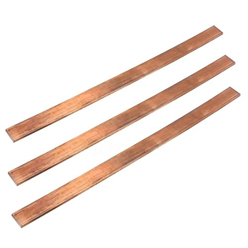 SODIAL(R) 99.6% T2 Purple Copper Cu Flat Bar Plate 3mm x 15mm x 250mm Metal Strip 3 Copper Bars