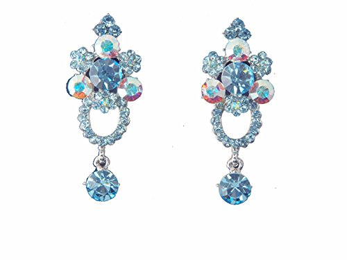 Vintage Style Aqua Blue & Iridescent Crystal & Rhinestone Clip On Earring Accented with Silvertones 2 in by WhimZ Girl Clip Earrings