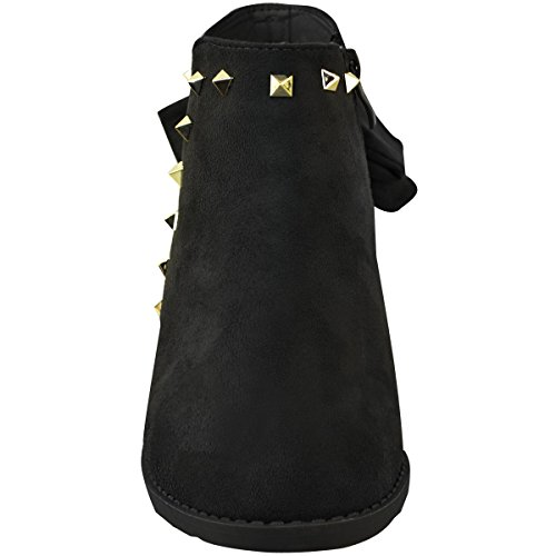 Size Suede Fashion Womens Tie Bow Winter Black Faux Chelsea Ruched Ankle Boots Thirsty Stud OaOqp6v