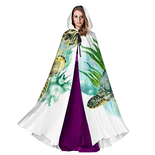 Underwater Ocean Sea Life Animal Green Turtle Cape and Cloaks Halloween Hooded Cloak 59inch for Christmas Halloween Cosplay Costumes