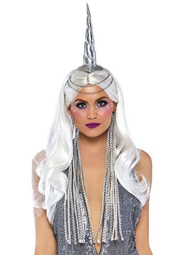 Leg Avenue Women's Festival Celestial Unicorn Headband with Braided Mane, Silver, O/S