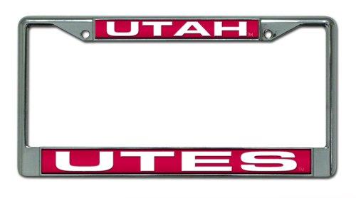 Rico Industries NCAA Utah Utes Laser Cut Inlaid Standard Chrome License Plate Frame